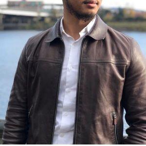 COACH York Mahogany Brown Leather Jacket